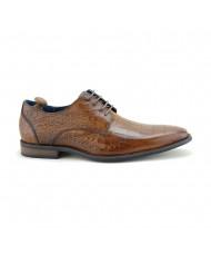 Paolo Vandini Men's Teilo Lace Croc Leather Mid Brown
