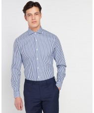 Remus Uomo Tapered Fit Stripe Cotton Shirt - Blue & White Stripe