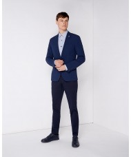 "Remus Uomo ""Novo"" Slim Fit Checked Seersucker Jacket In Dark Blue"