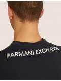 Armani Exchange Regular Fit Digital Eagle Crew Neck T Shirt In Navy