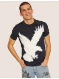 Armani Exchange Regular Fit Digital Eagle Crew Neck T Shirt In Navy