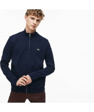 Lacoste Men's Zippered Stand-up Collar Fleece Sweatshirt In Navy Blue - SH9257-00