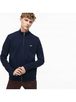 Lacoste Men's Zippered Stand-up Collar Fleece Sweatshirt In Navy Blue - SH9257-00