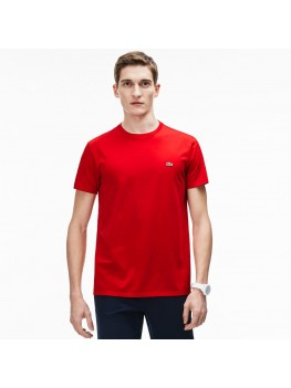 Lacoste Men's Crew Neck Pima Cotton Jersey T-shirt In Red TH6709-00