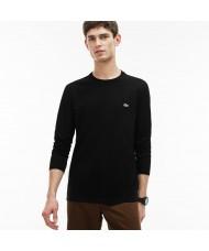 Lacoste Men's Long Sleeve Crew Neck Pima Cotton T shirt Black  - TH6712