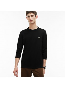 Lacoste Men's Long Sleeve Crew Neck Pima Cotton T shirt Black  - TH6712