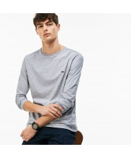 Lacoste Men's Long Sleeve Crew Neck Pima Cotton T Shirt In Silver Chine  - TH6712