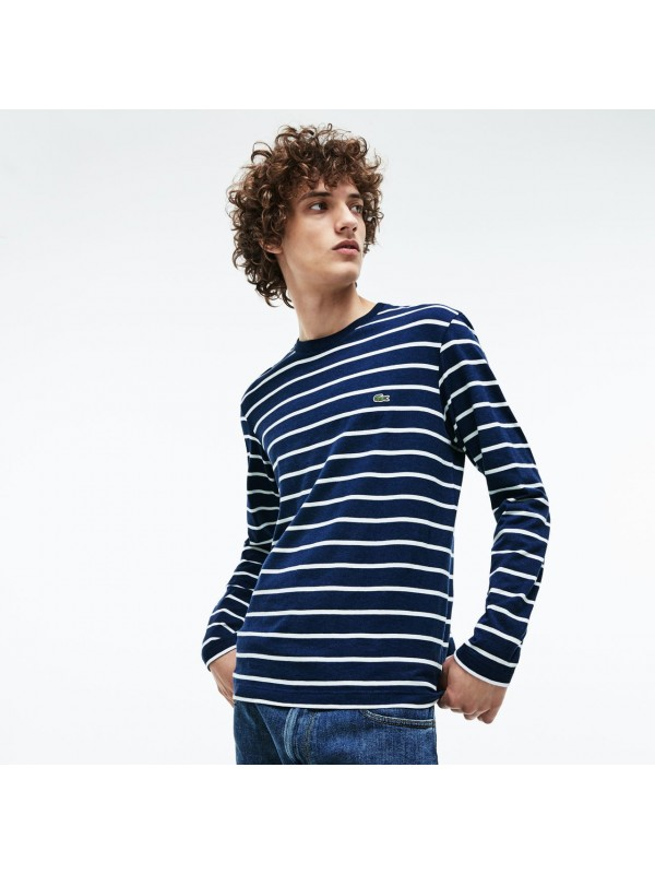 8ad106e179 Lacoste Men's Long Sleeve Crew Neck Striped Jersey T shirt - TH9416 00