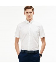 Lacoste Men's Regular Fit Short Sleeve Mini Piqué Shirt In White - CH9612-00