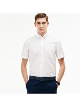 Lacoste Men's Regular Fit Short Sleeve Mini Piqué Shirt In White - CH9612-00