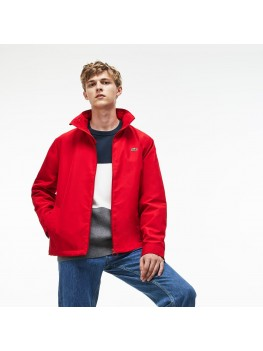 Lacoste Men's Concealed Hood Zippered Lightweight Taffeta Jacket In Red - BH9193