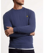 Lyle & Scott Cotton Merino Crew Neck Jumper In Indigo Blue - KN400VC