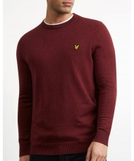 Lyle & Scott Cotton Merino Crew Neck Jumper In Claret Marl - KN400VC