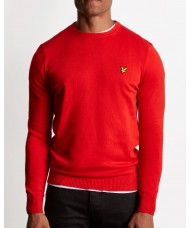 Lyle & Scott Cotton Merino Crew Neck Jumper In Tomato Red - KN400VC