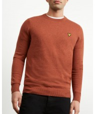 Lyle & Scott Cotton Merino Crew Neck Jumper In Brown Spice Marl - KN400VC