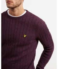 Lyle & Scott Cable Jumper - Wool Cotton Mix - Deep Plum - KN732