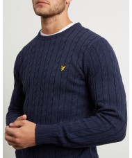 Lyle & Scott Cable Jumper - Wool Cotton Mix - Dark Navy Marl - KN732
