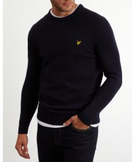 Lyle & Scott Crew Neck Lambswool Blend Jumper In Navy Blue