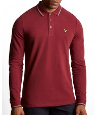 Lyle & Scott Long Sleeve Tipped Pique Polo Shirt In Dark Red - LP901V