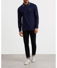 Lyle & Scott Long Sleeve Tipped Pique Polo Shirt In Navy Blue - LP901V