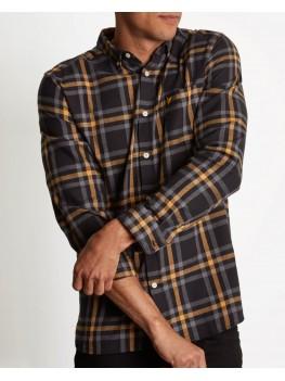 Lyle & Scott Long Sleeve Button Down Check Flannel Shirt - True Black & Urban Grey - LW716V