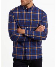 Lyle & Scott Long Sleeve Button Down Check Flannel Shirt - Duke Blue & Navy - LW716V