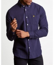 Lyle & Scott Long Sleeve Button Down Winter Weight Shirt In Navy Blue - LW902V
