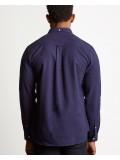 Lyle & Scott Long Sleeve Button Down Winter Weight Shirt In Navy Blue - LW902V