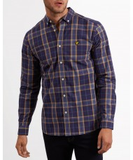 Lyle & Scott Long Sleeve Button Down Poplin Check Shirt - Navy - LW911V