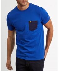 Lyle & Scott Crew Neck Contrast Pocket T-Shirt In Duke Blue  - TS831V
