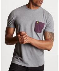Lyle & Scott Crew Neck Contrast Pocket T-Shirt In Mid Grey Marl  - TS831V
