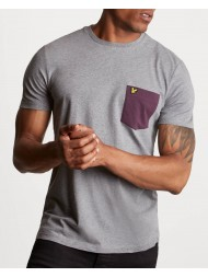 Lyle & Scott Crew Neck Contrast Pocket T-Shirt In Mid Grey Marl  - TS831V