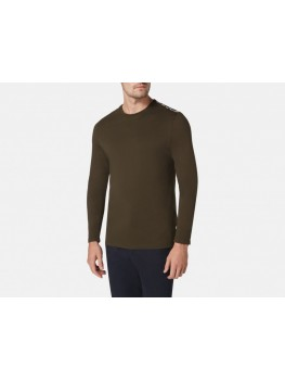 "Aquascutum  ""Southport"" Long Sleeve Crew Neck T-Shirt In Military Green"
