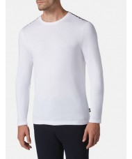 "Aquascutum  ""Southport"" Long Sleeve Crew Neck T-Shirt In White"