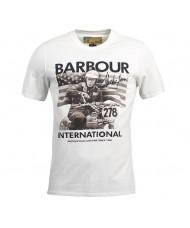 Barbour International Steve McQueen Logo T Shirt In White - MTS0434BE13