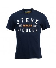 Barbour International Steve McQueen Logo T Shirt In Navy - MTS0437NY91