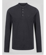 "Luke ""Long Gert""  Cotton Pique Smart Long Sleeve Henley - Marl Black - M450204"