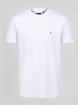 "Luke ""Mr Clarke 2"" Crew Neck White T Shirt With Shoulder Insert - M450110"