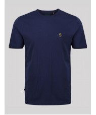 "Luke ""Traffs"" Crew Neck T-Shirt In Navy Blue - ZM280165"
