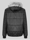 """Luke """"Forest"""" Quilted Hooded Jacket With Faux Fur Hood - Jet Black"""