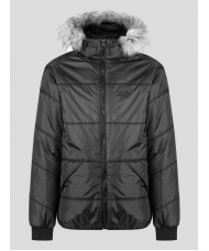 "Luke ""Forest"" Quilted Hooded Jacket With Faux Fur Hood - Jet Black"