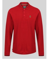 "Luke ""New Long mead "" Long Sleeve Polo Shirt In Deep Red - M450255"