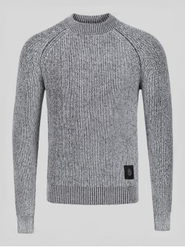 "Luke 1977 ""Plated"" Crew Neck Ribbed Knited Jumper - Grey"