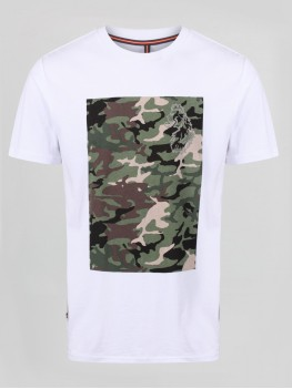 "Luke Sport ""Refcam"" Crew Neck T-Shirt In White With Camo Print - M450157"