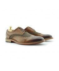 Paolo Vandini Men's Coy Brogue Shoe Tweed Leather Cognac Tan