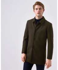 "Remus Uomo ""Rowan"" Tapered Fit Wool-Mix Overcoat In Olive Green"