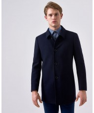 "Remus Uomo ""Rowan"" Tapered Fit Wool-Mix Overcoat In Navy Blue"