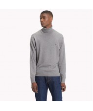 Tommy Hilfiger Cotton Cashmere Turtleneck In Grey