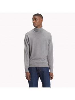 Tommy Hilfiger Cotton Cashmere Turtleneck In Grey